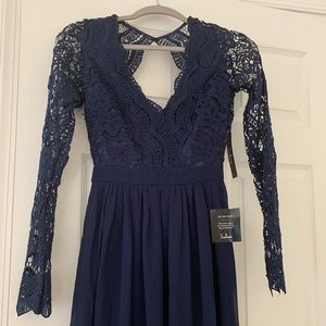 NWT Lulu's Awaken My Love Navy Lace Maxi Dress